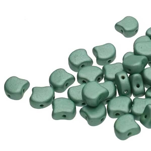 s67471 Czech Shaped Beads -  Ginko - Metallic Suede Light Green