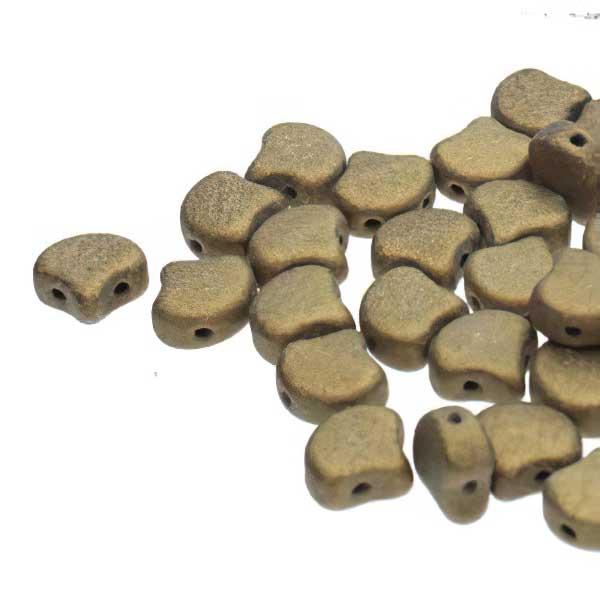 s67472 Czech Shaped Beads -  Ginko - Metallic Suede Gold