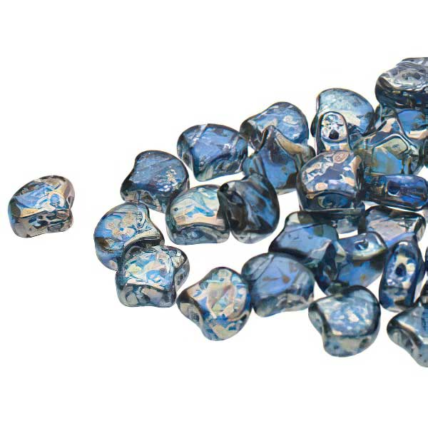 s67481 Czech Shaped Beads -  Ginko - Sapphire Rembrandt