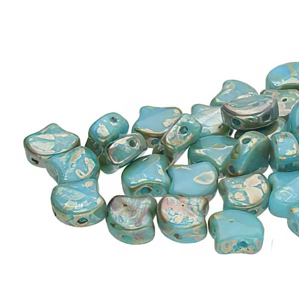 s67496 Czech Shaped Beads -  Ginko - Blue Turquoise Rembrandt