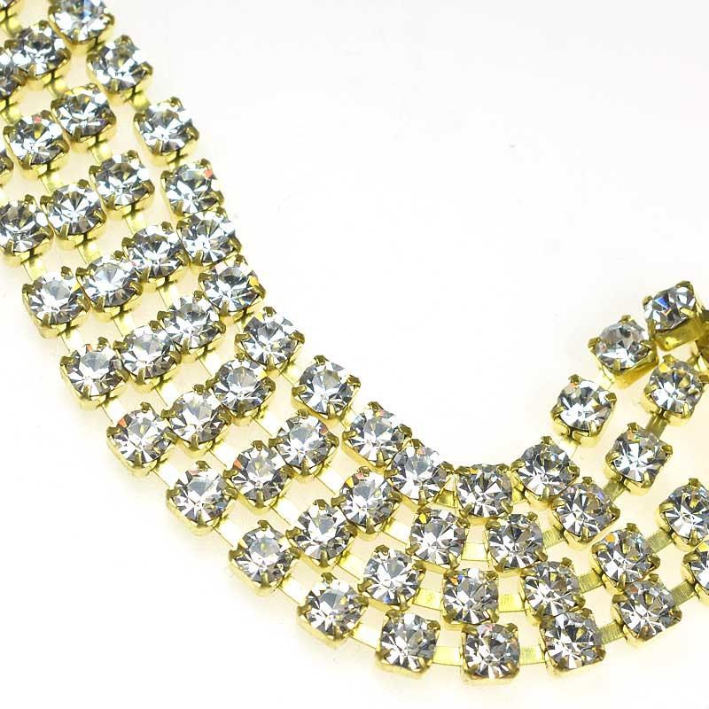 s67533 Rhinestone CupChain - 4mm (ss17) Prong Set Rhinestone Chain - Crystal - Gold Plated (1 foot)