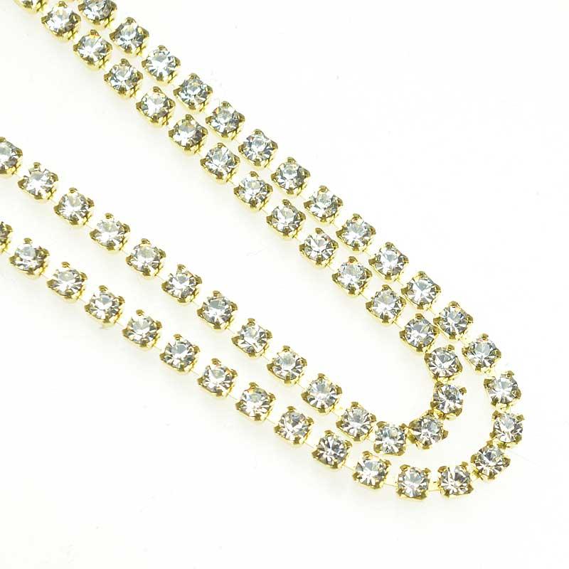 s67534 Rhinestone CupChain - 2.3mm (ss8) Prong Set Rhinestone Chain - Crystal - Gold Plated (1 foot)