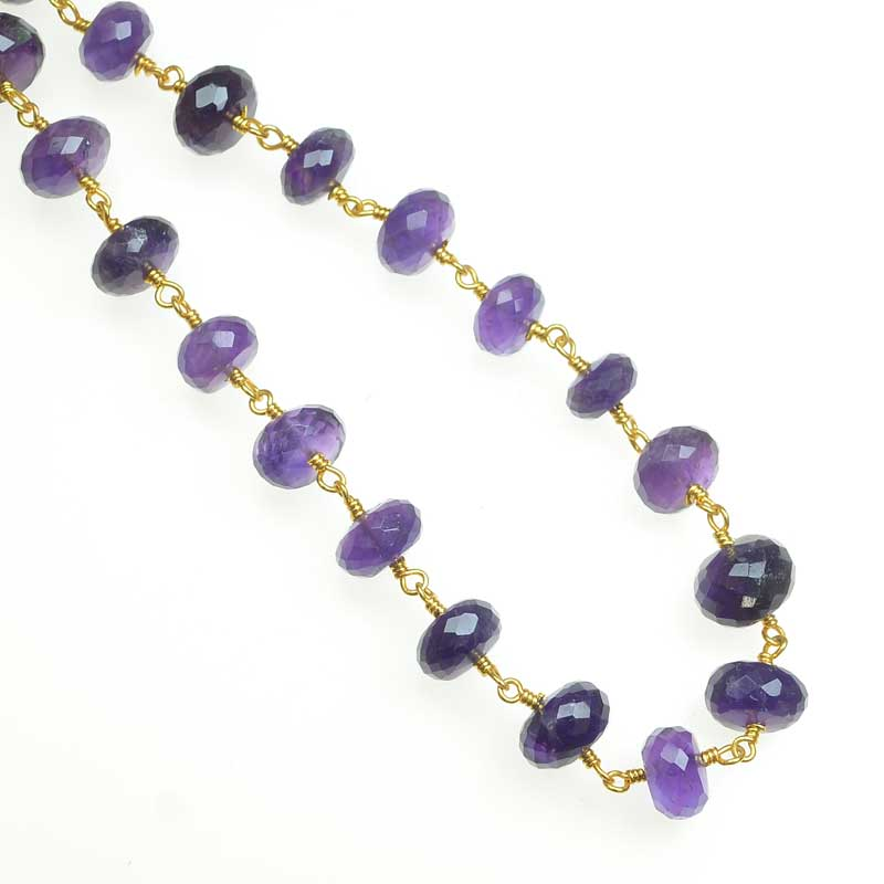 s67544 Gemstone Chain -  Faceted Rondelle on Wire Link - Amethyst - Goldplated (foot)
