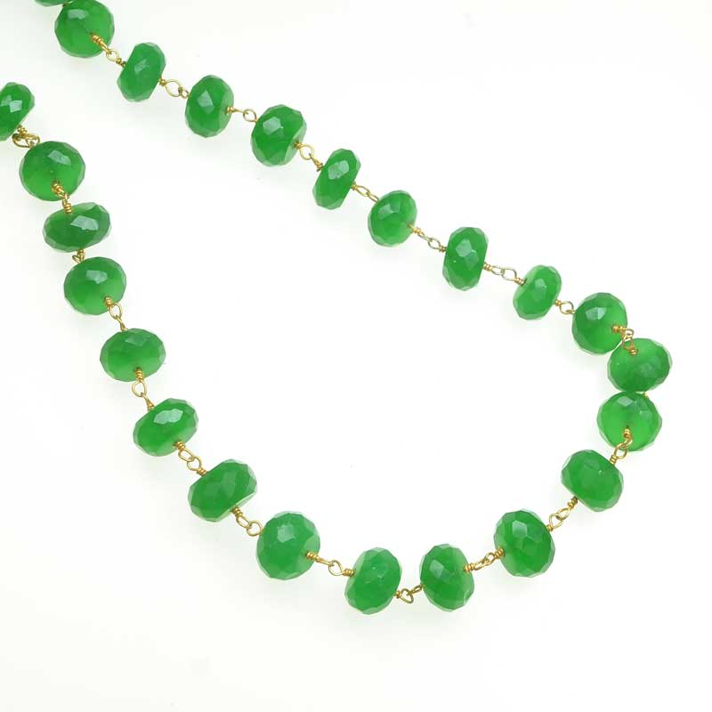 s67545 Gemstone Chain -  Faceted Rondelle on Wire Link - Green Onyx - Goldplated (foot)