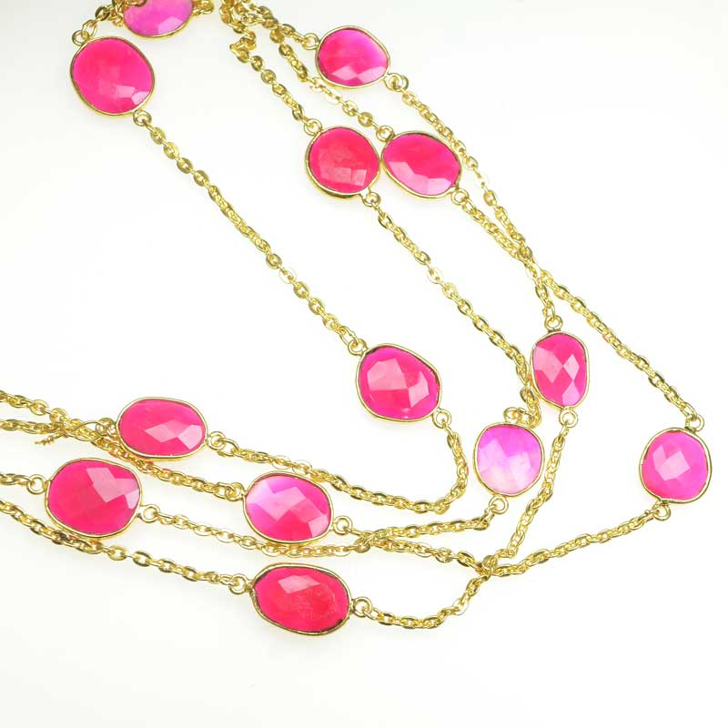 s67546 Gemstone Chain -  Mounted Faceted Random - Pink Chalcedony - Goldplated (foot)
