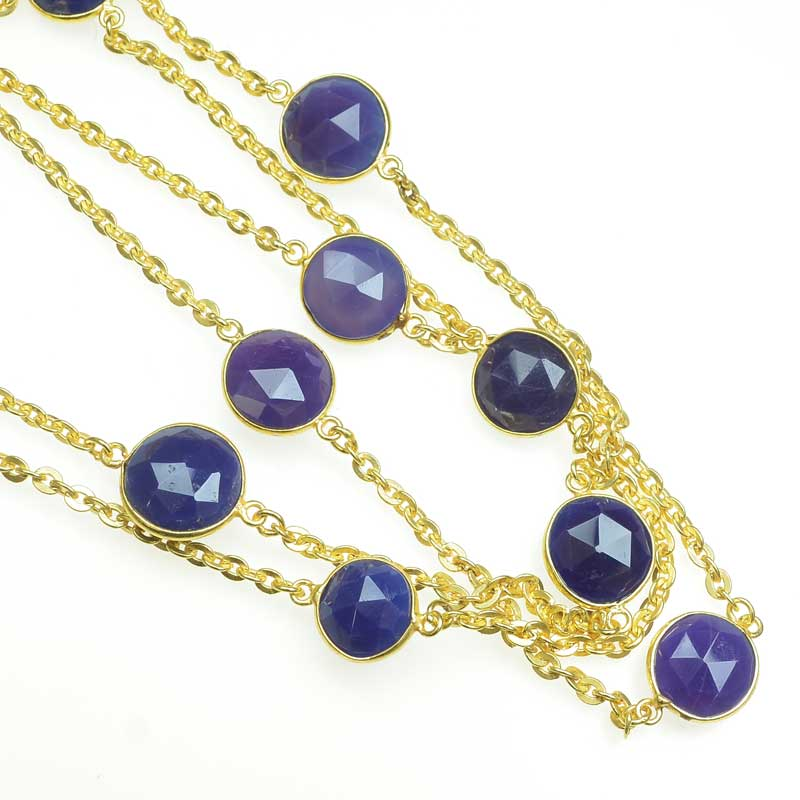 s67547 Gemstone Chain -  Mounted Faceted Circles - Lapis - Goldplated (foot)