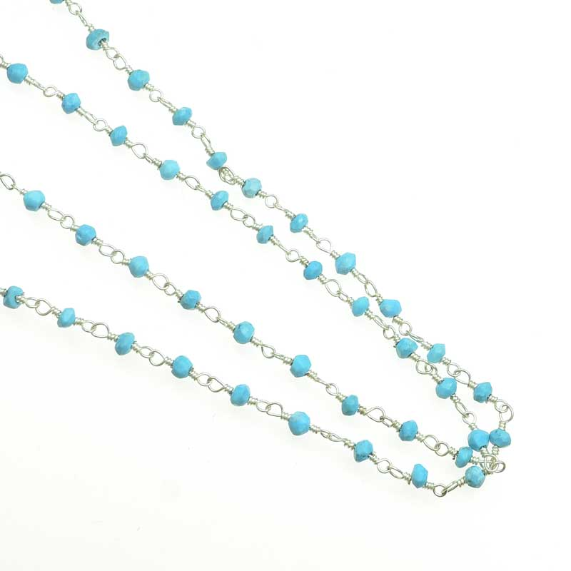 s67548 Gemstone Chain -  Faceted Nuggets - Turquoise - Silverplated (foot)