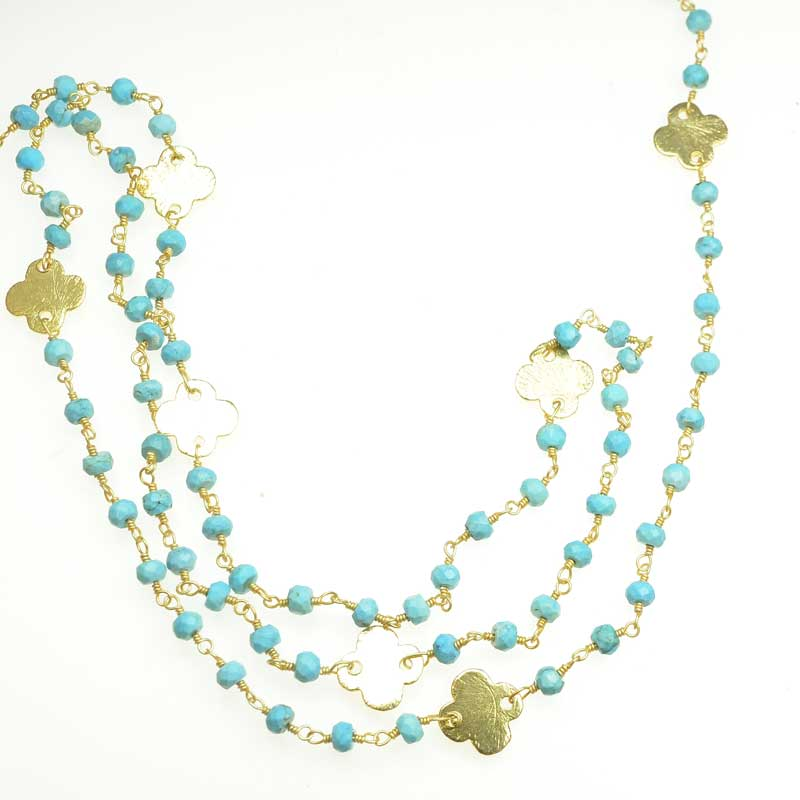 s67549 Gemstone Chain -  Faceted Rondelles with Shape - Turquoise - Goldplated (foot)