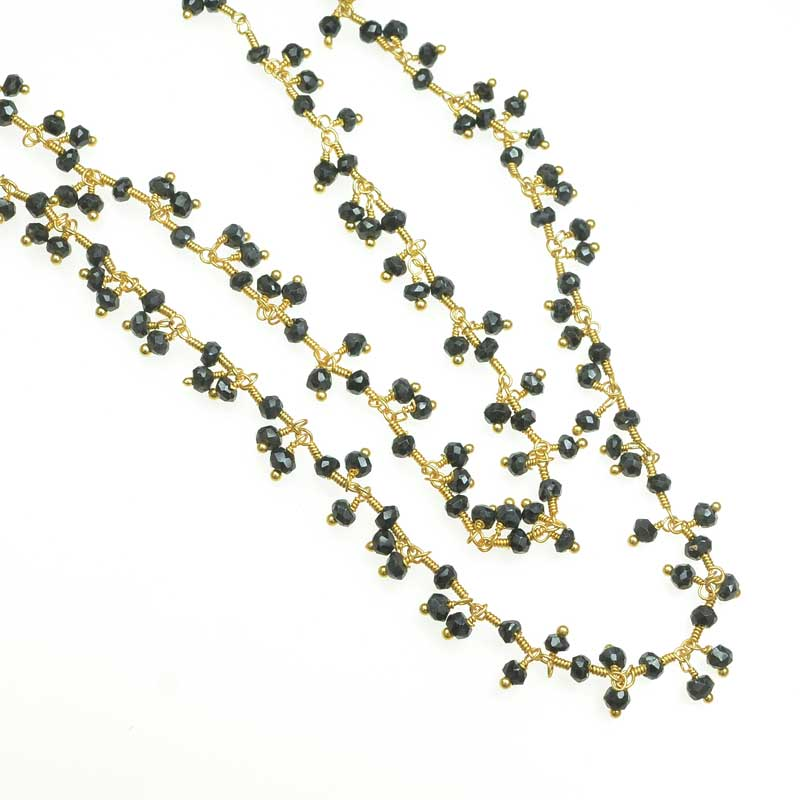 s67552 Gemstone Charm Chain -  Faceted Rondelles - Onyx - Goldplated (foot)