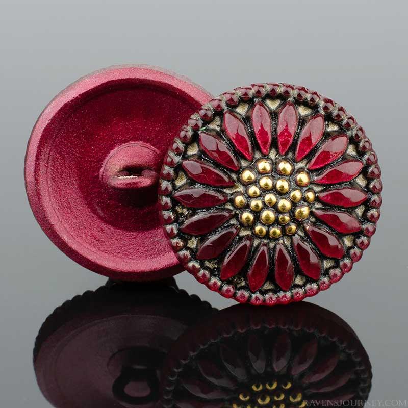 s67579 Czech Glass Button - 18mm Glorious Sunflower - Ruby Tuesday