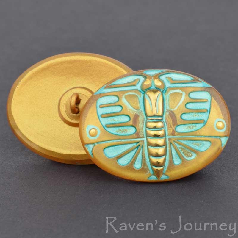 s67585 Czech Glass Button - 29mm Art Deco Butterfly Oval - Noon Stroll