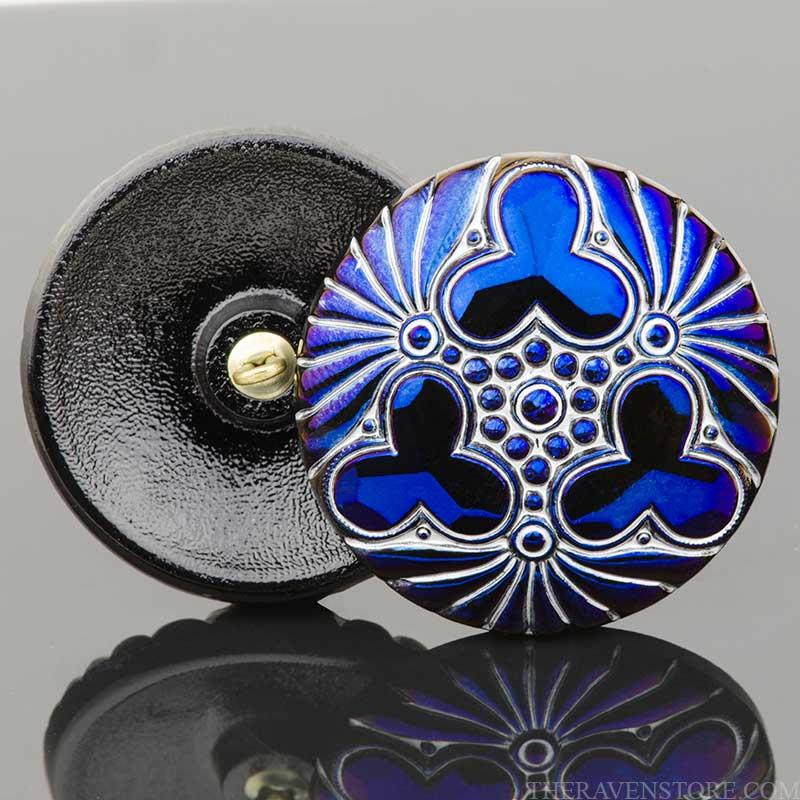s67587 Czech Glass Button - 36mm Triple Clover - Midnight Bluer