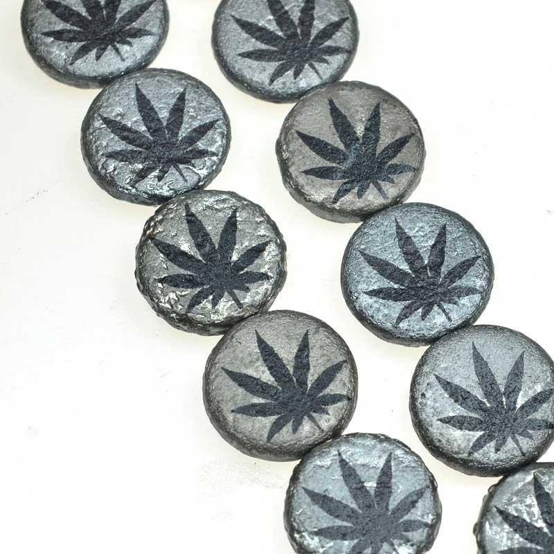 s67595 Weed Bead - 14mm - Kona Silver (strand 8)