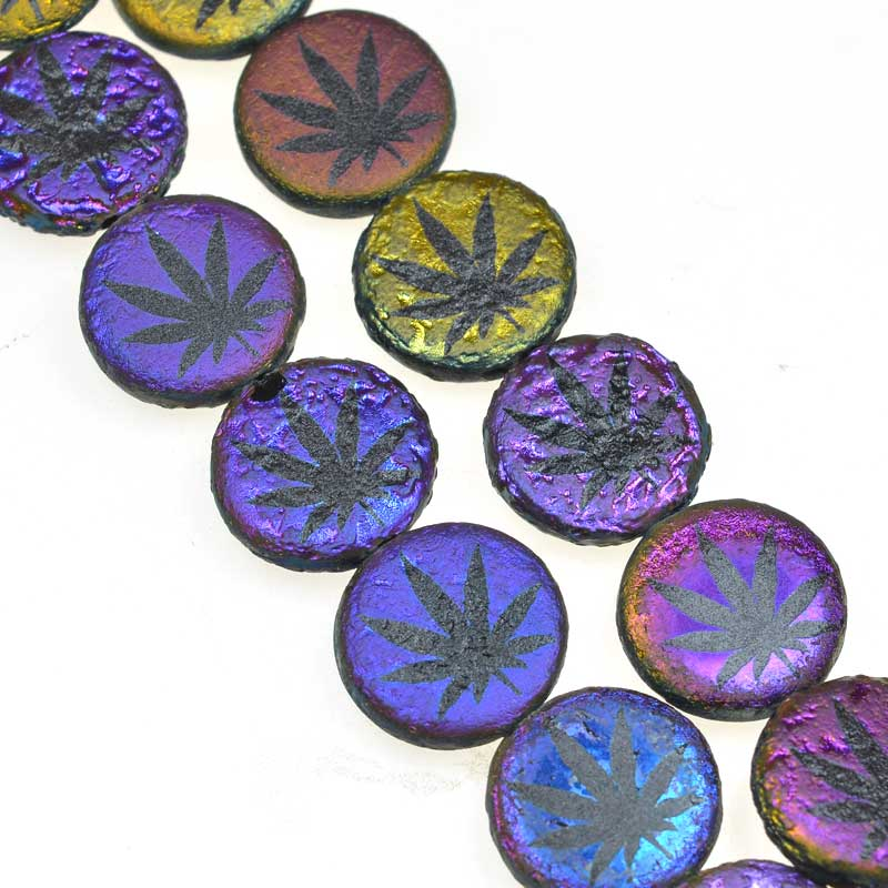 s67597 Weed Bead - 14mm - Electric Boogaloo (strand 8)