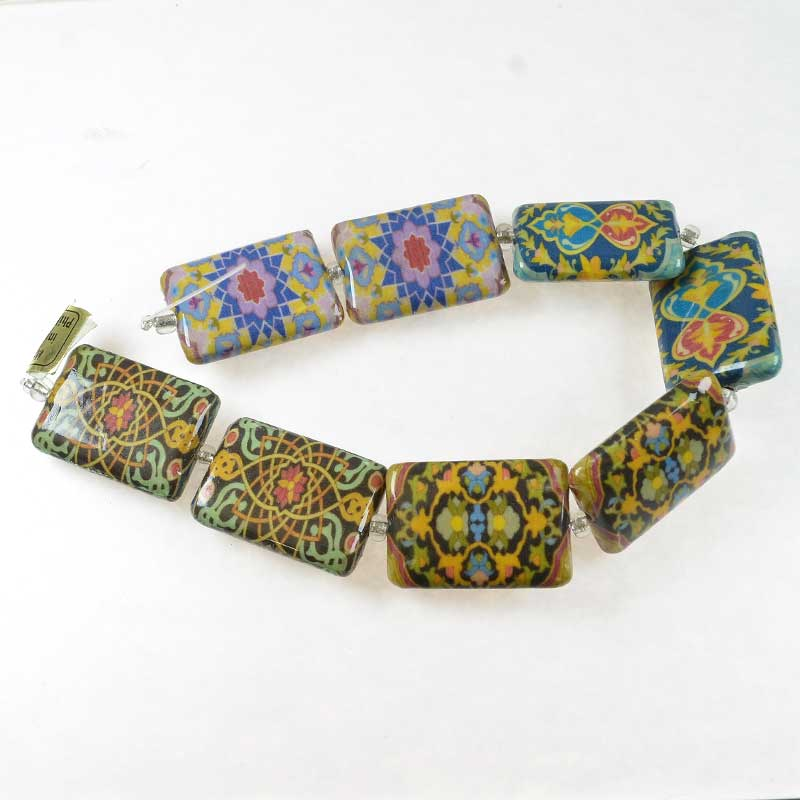 s67608 Decoupage Picture Beads - 18x26mm Rectangle - Morocco Bound (strand)