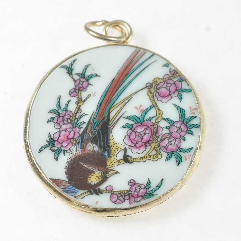 s67617 OOAK Pendant -  Reclaimed Ceramic - Golden Pheasant
