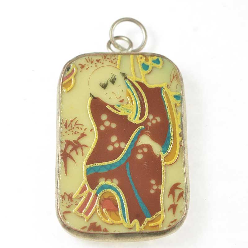 s67619 OOAK Pendant -  Reclaimed Ceramic - The Monk