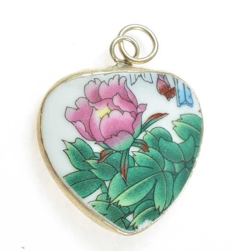 s67625 OOAK Pendant -  Reclaimed Ceramic - Heart Peony