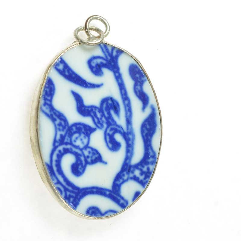 s67630 OOAK Pendant -  Reclaimed Ceramic - Blue Vines