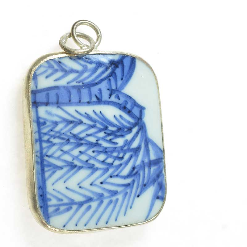 s67631 OOAK Pendant -  Reclaimed Ceramic - Blue Palm