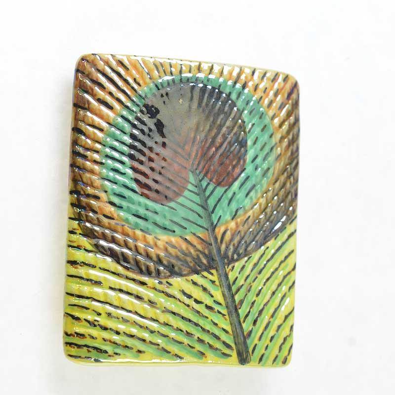 s67634 OOAK Bead -  Porcelain - Peacock Feather