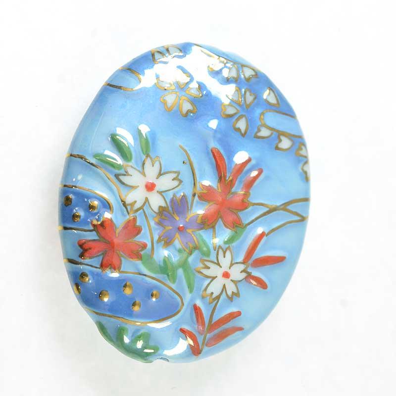 s67635 OOAK Bead -  Porcelain - Summer Wildflowers