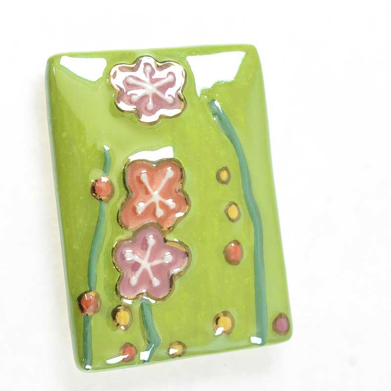 s67646 OOAK Cabochon -  Porcelain - Simple Flowers