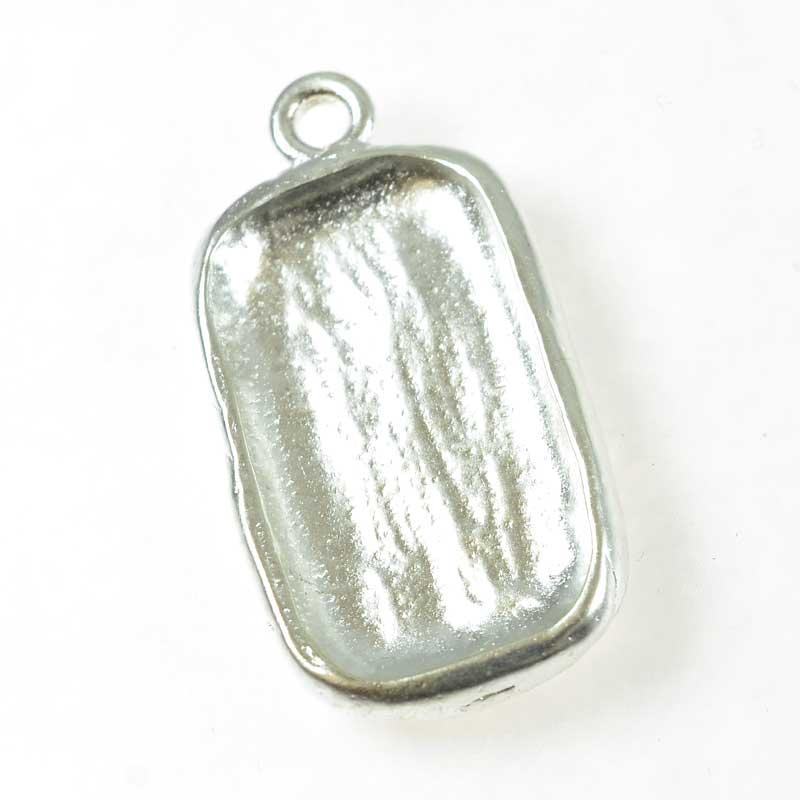 s67668 Resin Bezel Tray -  Boho Rectangle - Bright Silver