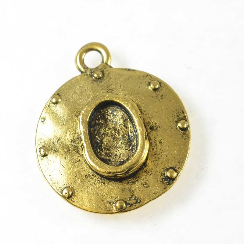 s67672 Resin Bezel Tray -  Boho Porthole - Antiqued Gold