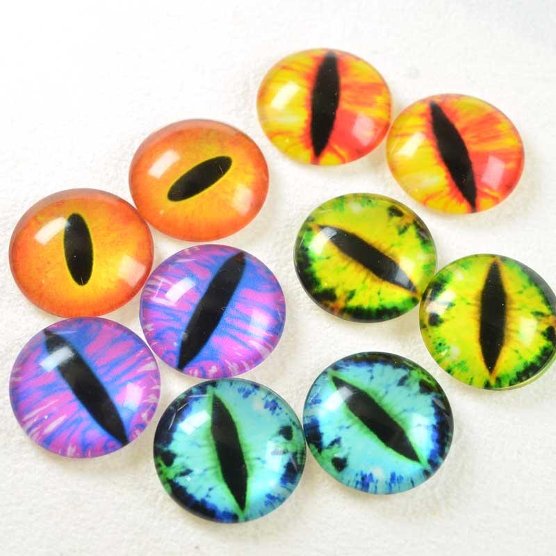 s68456 Glass Cabochon - 20mm Round - Slit Pupil - Random Eyes (2)