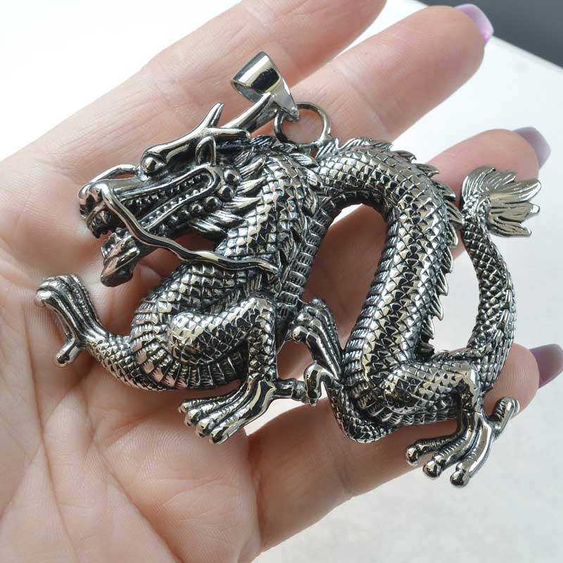 s68464 Pendant -  Massively Magnificent Dragon - Stainless Steel