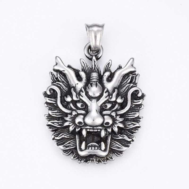 s68465 Pendant -  Tibetan Dragon - Stainless Steel
