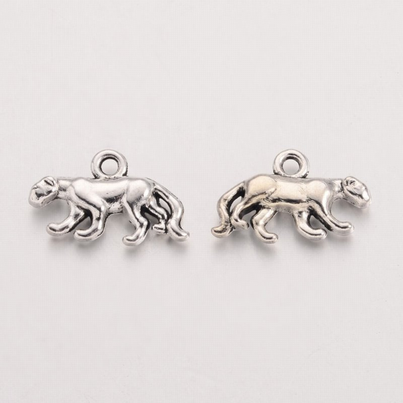 s68466 Charm -  Mountain Lion - Silver (Pair)