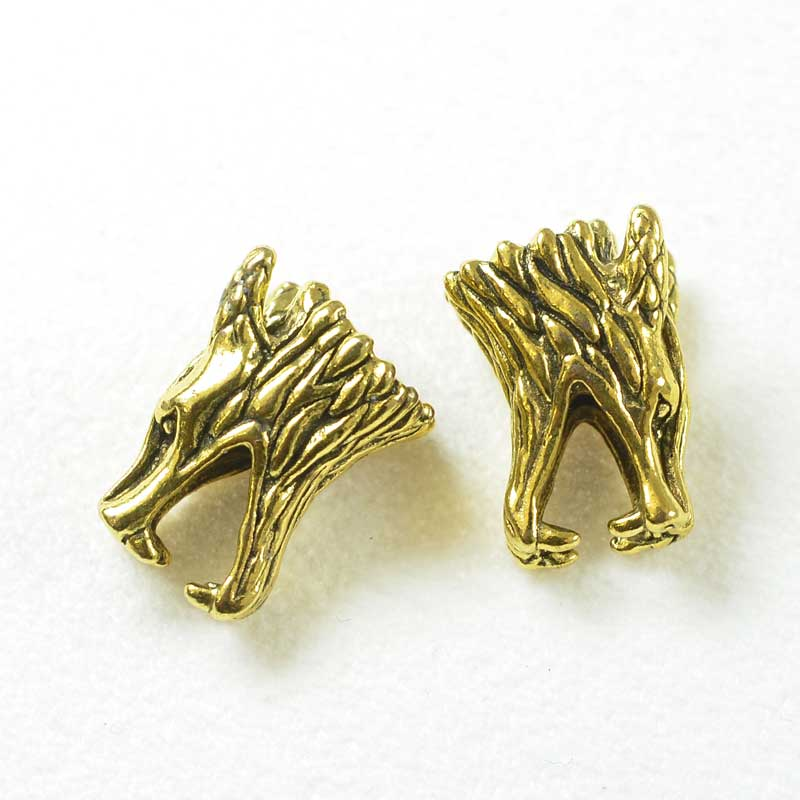 s68469 Bead -  Wolf Dragon - Antiqued Gold (Pair)
