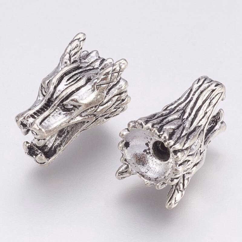 s68470 Bead -  Wolf Dragon - Antiqued Silver (Pair)