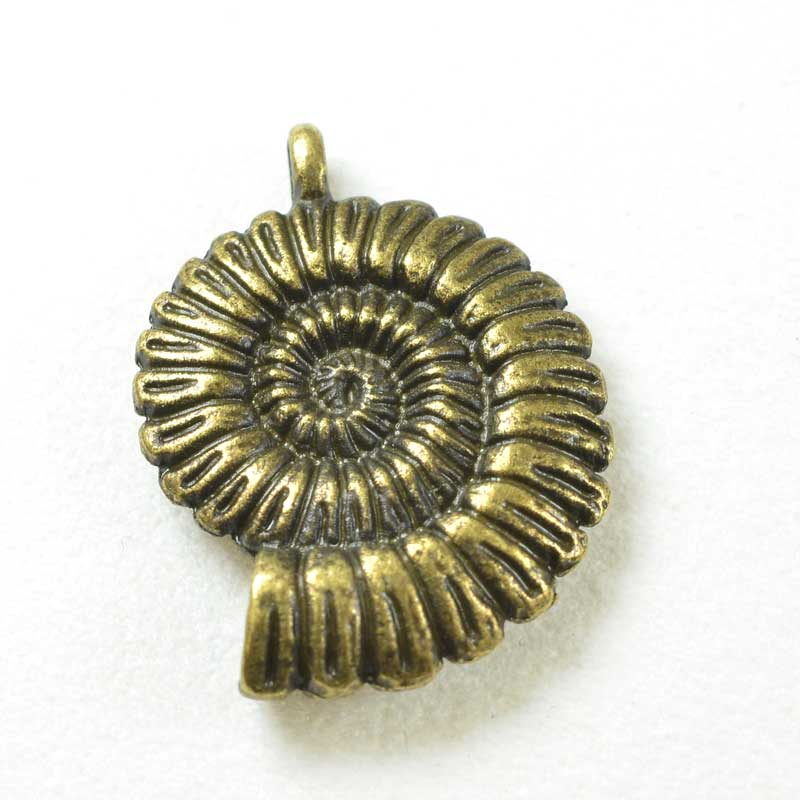 s68471 Pendant -  Spiral Shell - Antiqued Brass