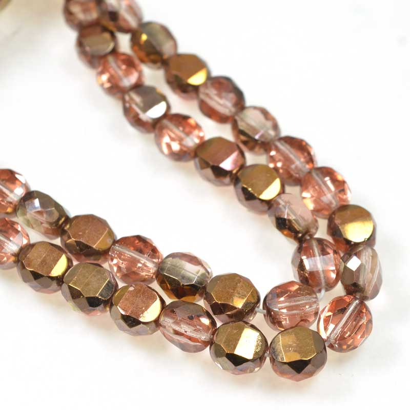 s69272 Czech Glass - 8mm TwoWay Fancy Faceted Oval - Rose Gold (strand 25)