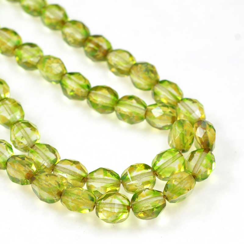 s69278 Czech Glass - 8mm TwoWay Fancy Faceted Oval - Green Picasso (strand 25)
