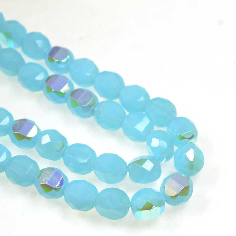 s69288 Czech Glass - 8mm TwoWay Fancy Faceted Oval - Opal Turquoise AB (strand 25)