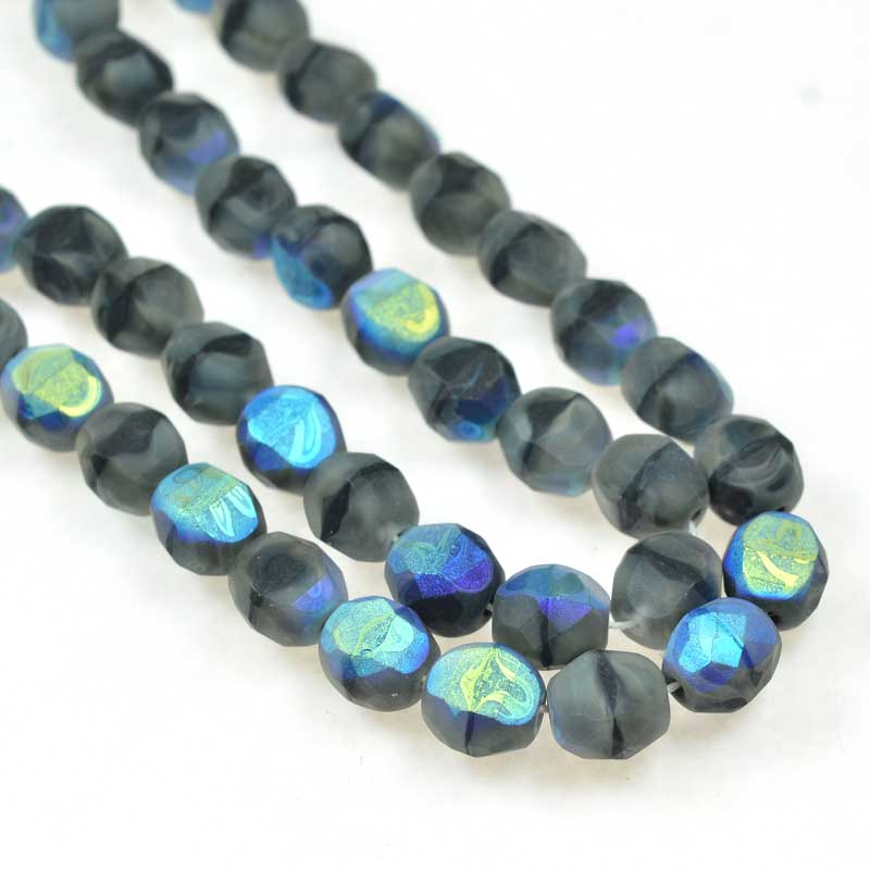 s69290 Czech Glass - 8mm TwoWay Fancy Faceted Oval - Matte Grey Givre AB (strand 25)