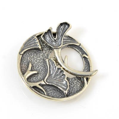 s8328 Toggle Clasp - 30mm Ginkgo - Sterling
