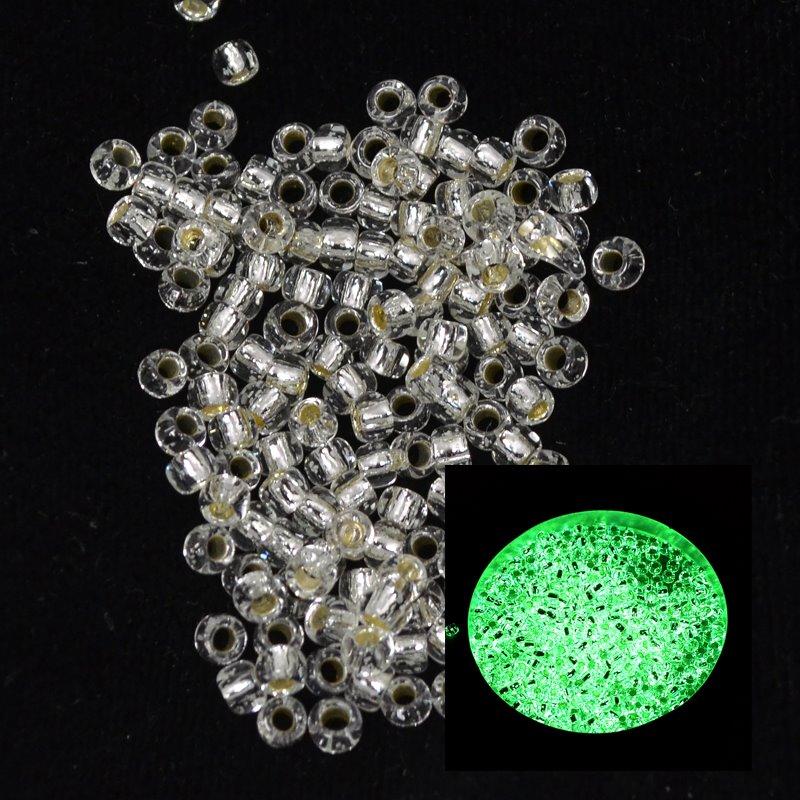 tb8rpf2700s Japanese Seedbeads - 8/0 Toho Seedbeads - Silver Lined Crystal/Glow Green
