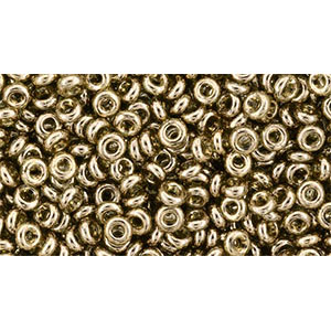tn08204 Japanese Seedbeads - 8/0 3mm Toho Demi Round Seedbeads - Gold Lustered Montana Blue
