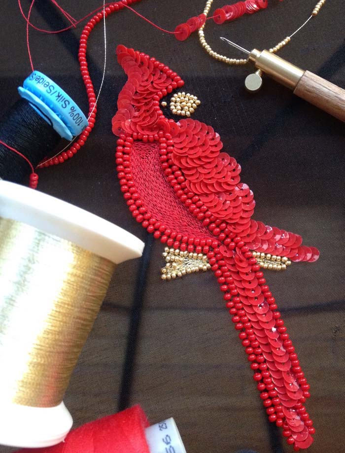 Introduction to Crochet de Luneville/Tambour Embroidery, Class 2: Cardinal or Blue Jay motif